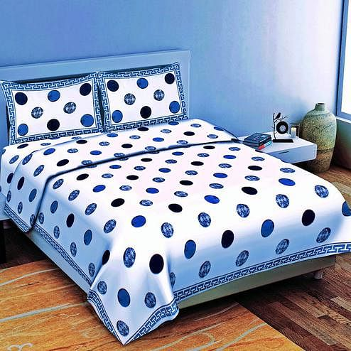 Elegant White-Blue Colored Geometric Print Cotton Double Bedsheet with 2 Pillow Cover