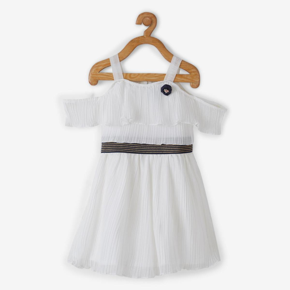 Powderfly Girls White Colored Solid Round Neck Mini Georgette Dress