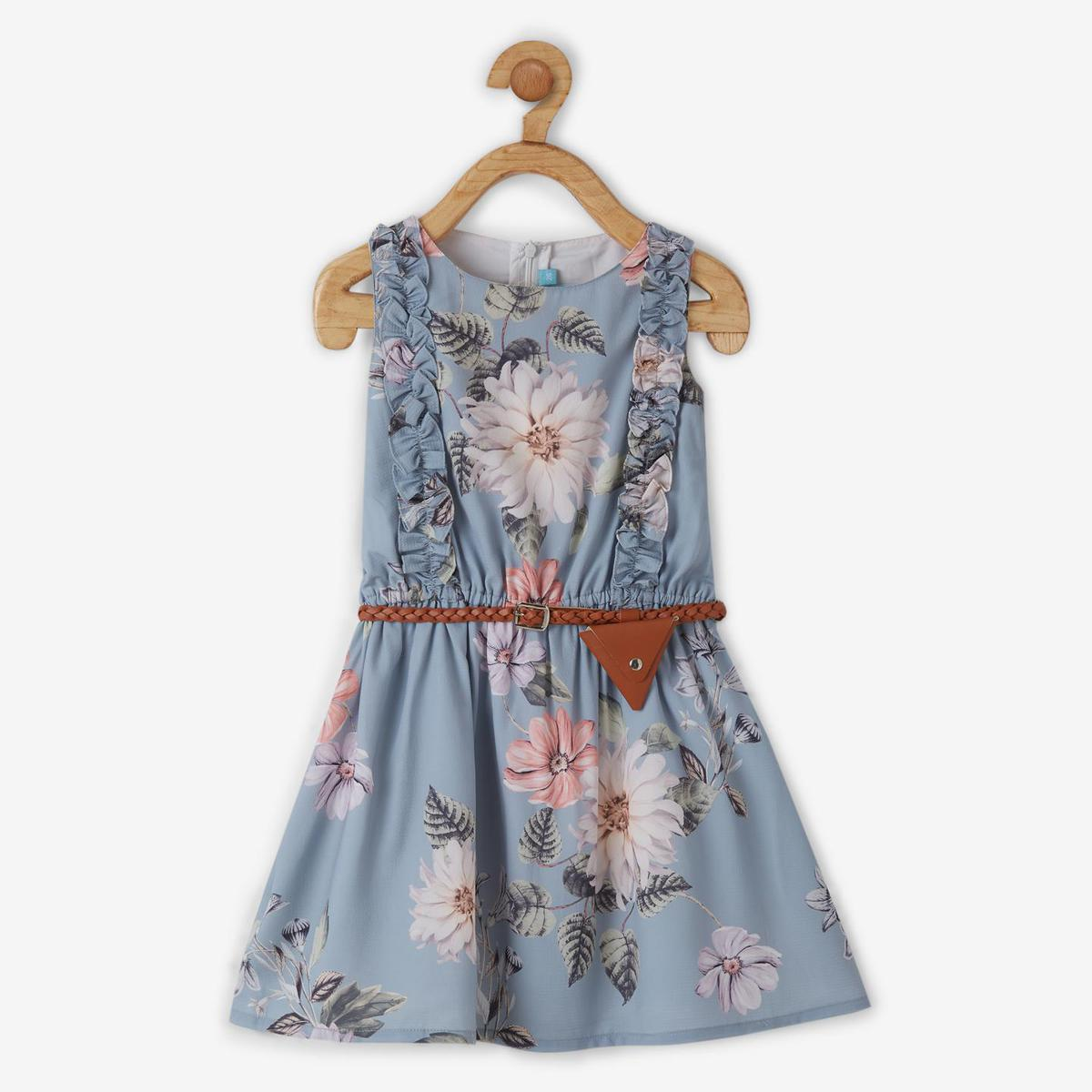 Powderfly Girls Light Blue Colored Floral Round Neck Mini Georgette Dress