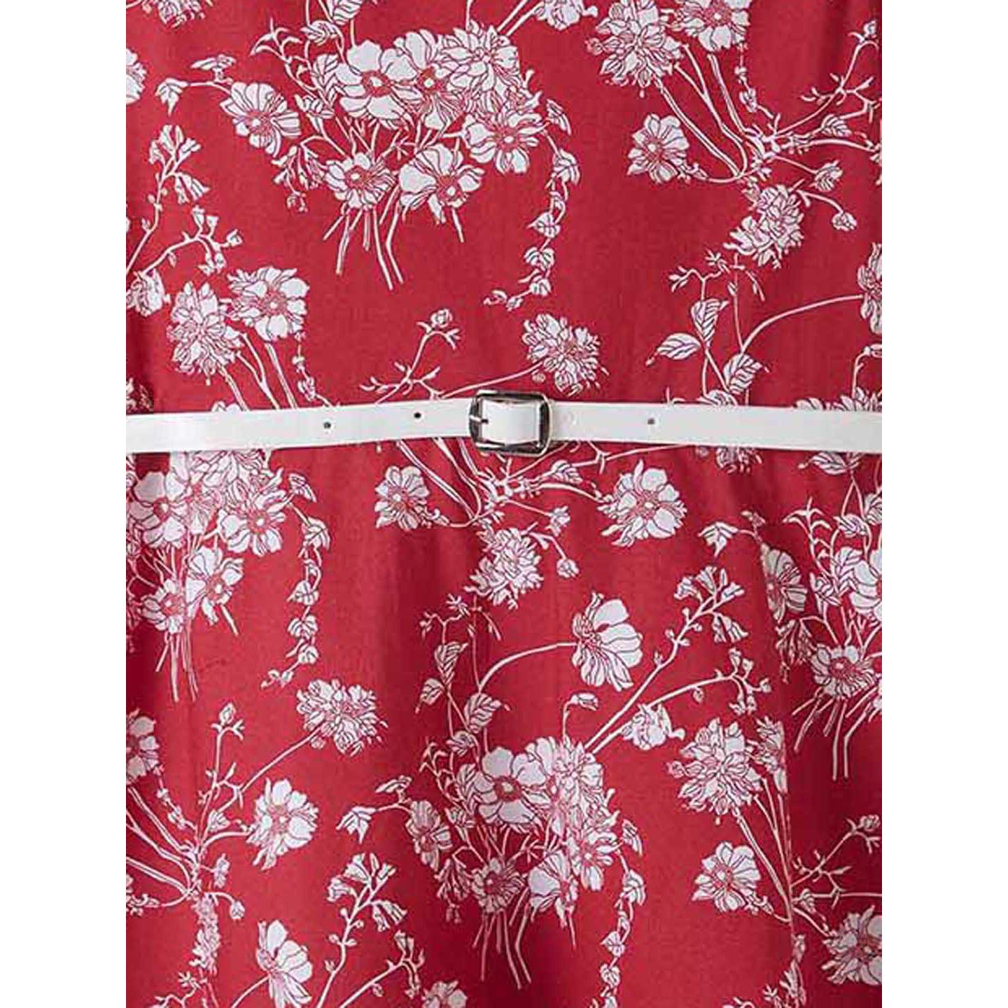 Powderfly Girls Maroon Colored Floral Printed Cotton Dress