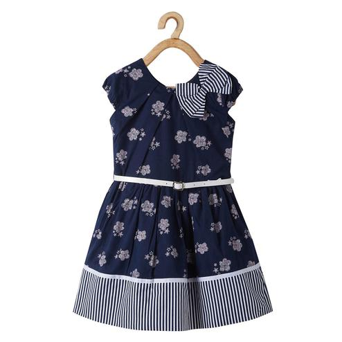 Powderfly Girls Blue Colored Round Neck Printed Cotton Dress