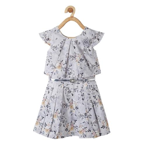 Powderfly Girls Grey Colored Round Neck Printed Cotton Dress