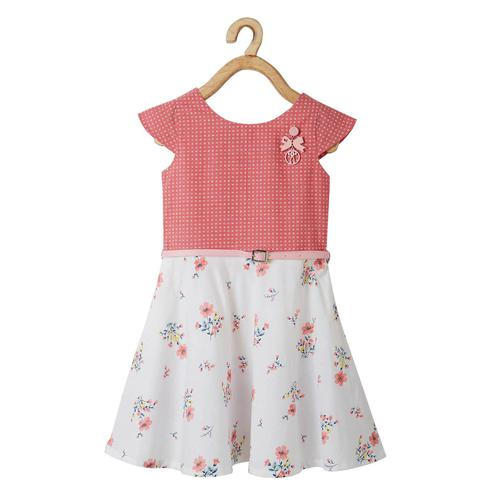 Powderfly Girls Peach-White Colored Round Neck Floral Printed Cotton Dress