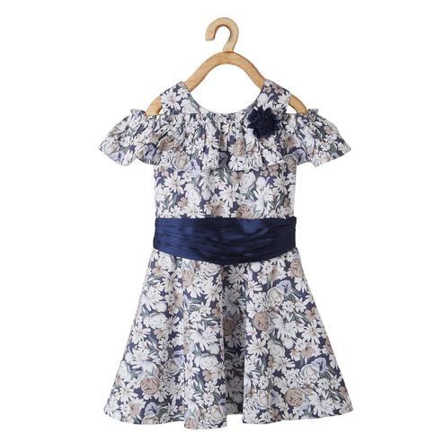 Powderfly Girls Multi-Blue Colored Round Neck Floral Printed Cotton Dress