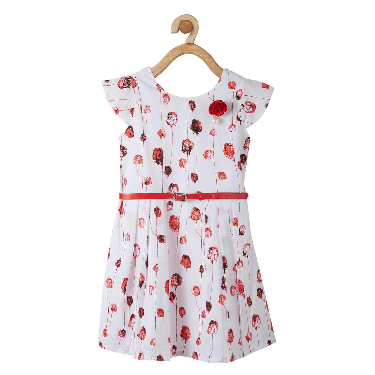Powderfly Girls White-Red Colored Round Neck Floral Printed Cotton Dress