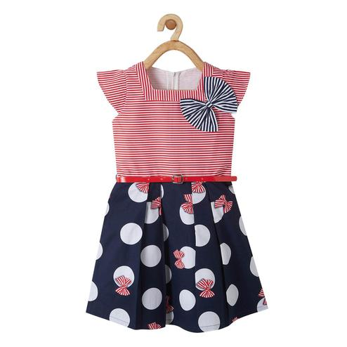 Powderfly Girls Red-Blue Colored Square Neck Polka Dot Printed Cotton Dress