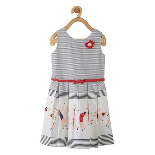 Powderfly Girls White-Red Colored Round Neck Striped Cotton Dress
