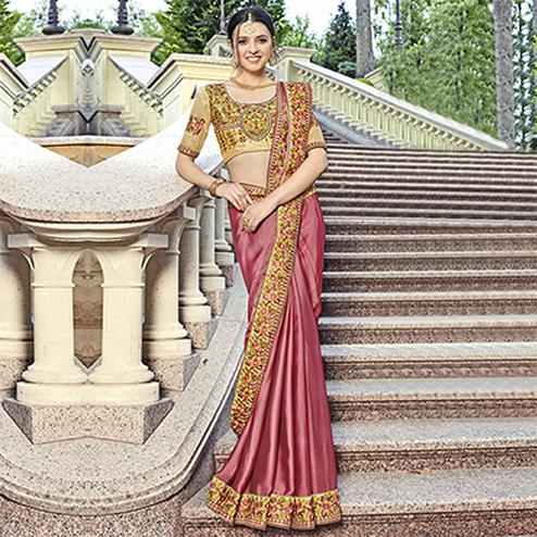 Attractive Wine Colored Designer Embroidered Georgette Saree