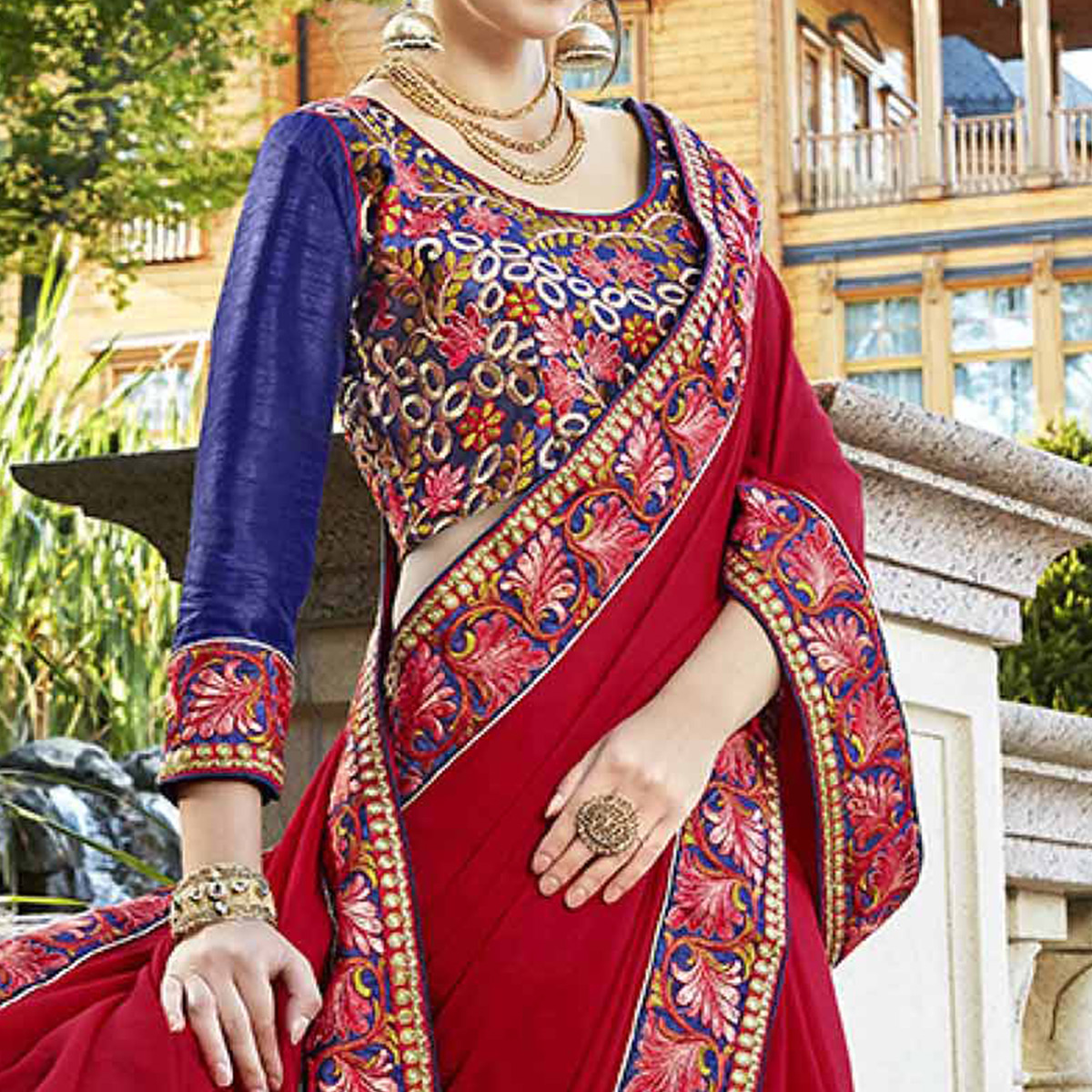 Stunning Red Designer Embroidered Georgette Saree