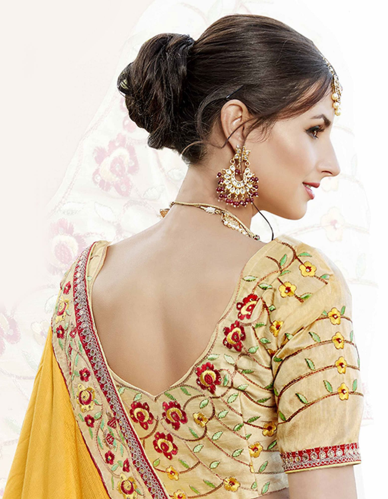 Refreshing Yellow Designer Embroidered Georgette Saree