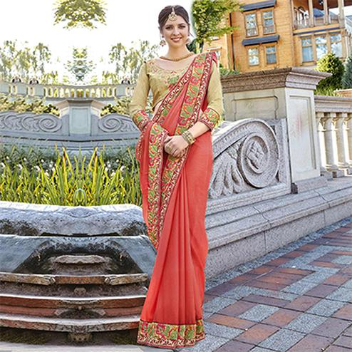 Gorgeous Peach Designer Embroidered Georgette Saree