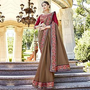 Elegant Brown Designer Embroidered Georgette Saree