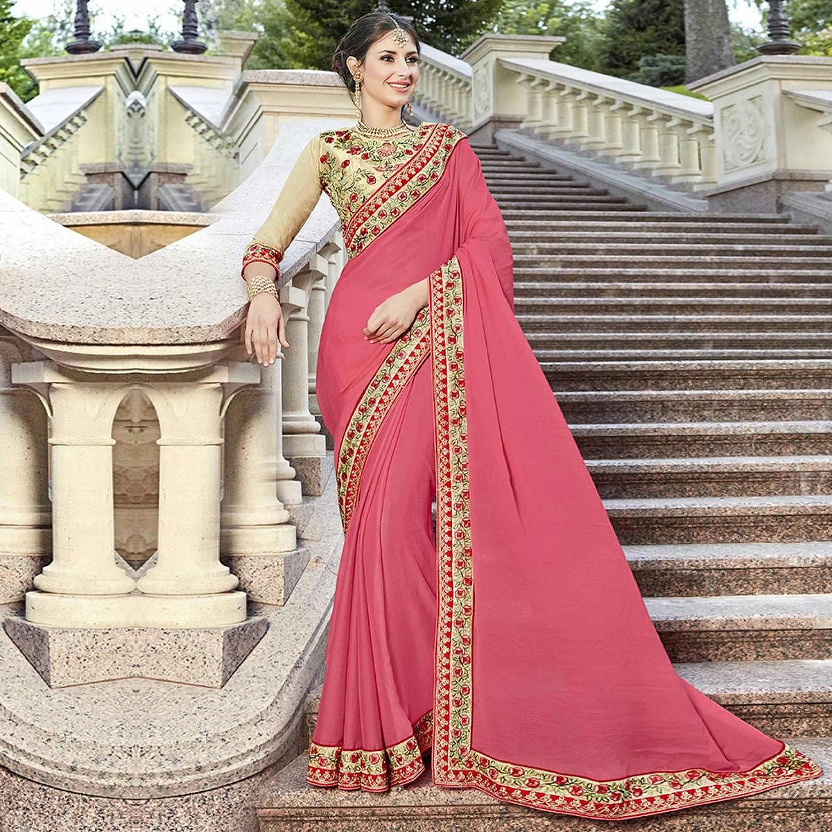 Beautiful Pink Designer Embroidered Georgette Saree