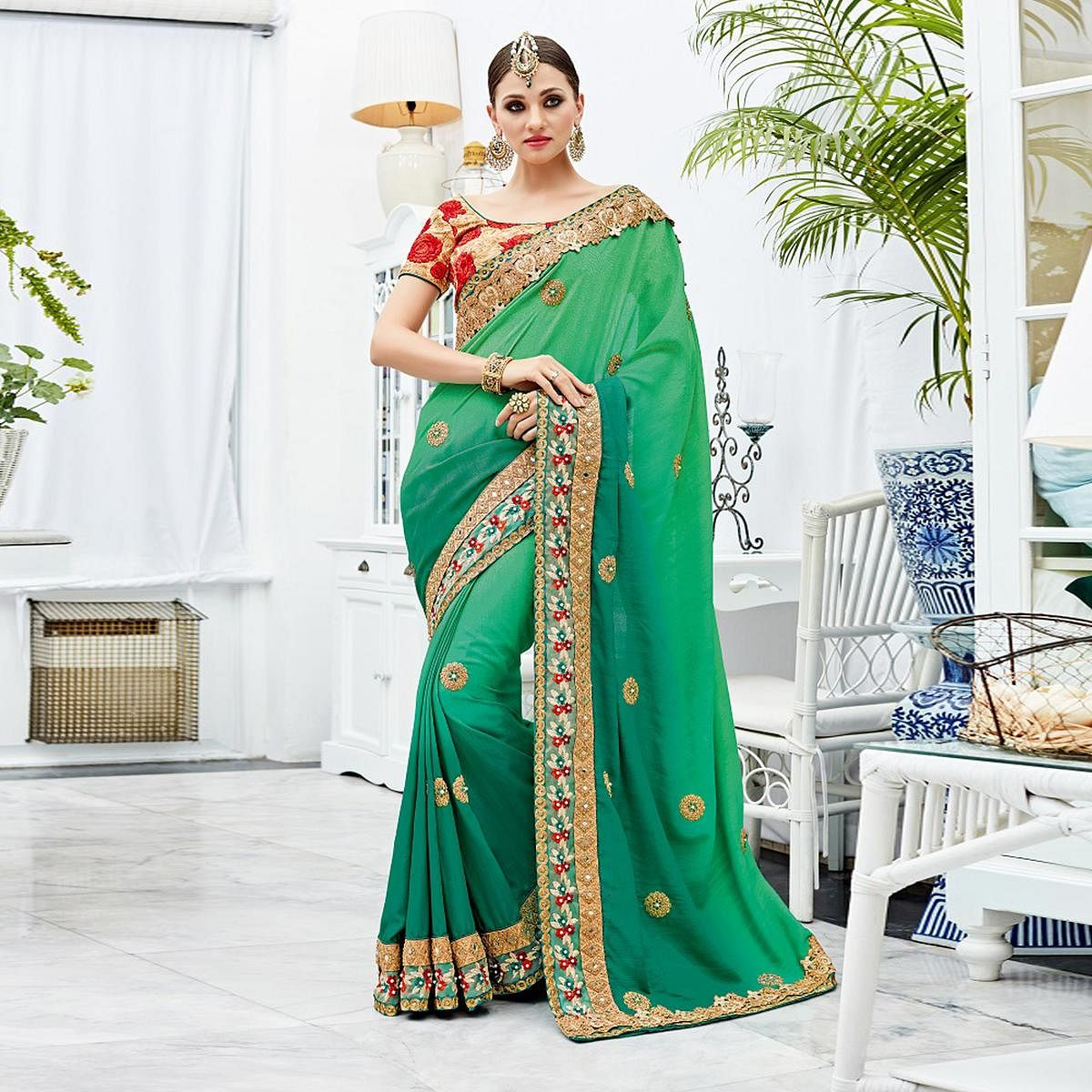 Gorgeous Shaded Green Designer Embroidered Silk Saree