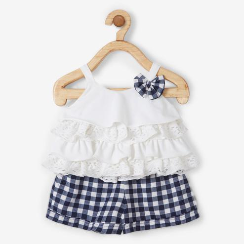 Powderfly White-Blue halter Cotton lycra Top With Checks Shorts