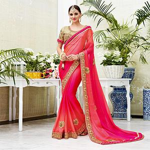 Sparkling Shaded Pink Designer Embroidered Silk Saree