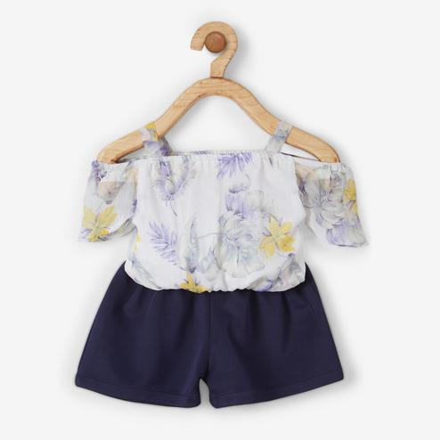 Powderfly Off-White-Blue Off Shoulder Pure Georgette Printed Top With Shorts