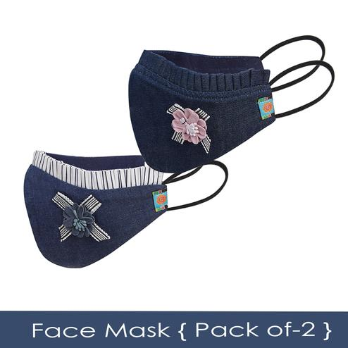 Powderfly Girls Cotton-Denim Face Cover - Pack of 2