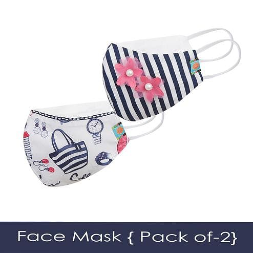 Powderfly Girls Striped Fashion Cotton Face Cover - Pack of 2