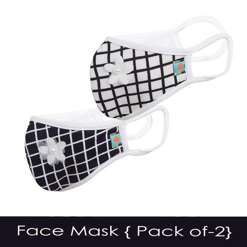 Powderfly Girls Trendy Checks Cotton Face Cover - Pack of 2