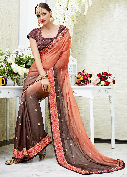 Ravishing Brown Designer Embroidered Chiffon Saree