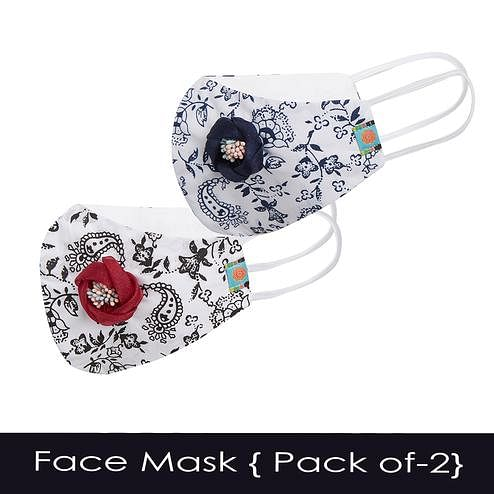 Powderfly Girls Paisley Print Cotton Face Cover - Pack of 2