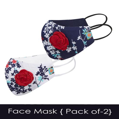 Powderfly Girls Spring Flowers Cotton Face Cover - Pack of 2