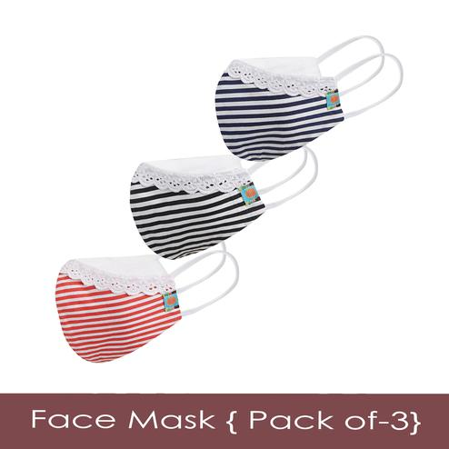 Powderfly Girls Fun Striped Cotton Face Cover - Pack of 3