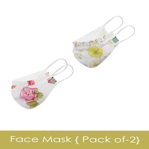 Powderfly Girls Spring Bloom Cotton Face Cover - Pack of 2