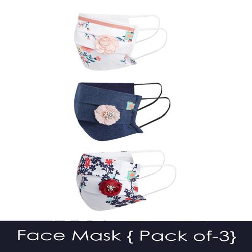 Powderfly Girls Floral Bloom Pleated Cotton Face Cover - Pack of 3