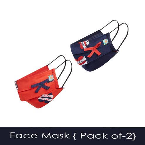 Powderfly Girls Real Love Pleated Cotton Face Cover - Pack of 2
