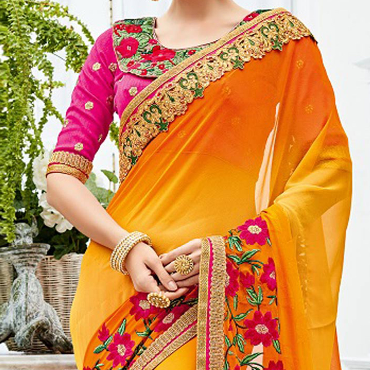 Breathtaking Yellow Designer Embroidered Chiffon Saree
