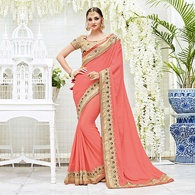 Elegant Peach Designer Embroidered Chiffon Saree