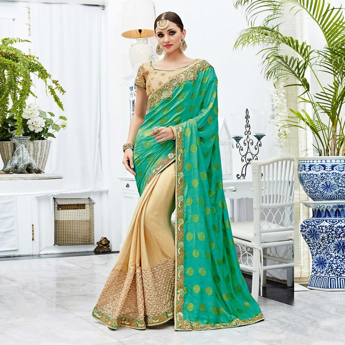 Charming Green-Beige Designer Embroidered Two Tone Silk Saree
