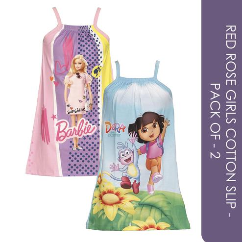 Red Rose - Girls Cotton Barbie & Dora Printed Slip - Pack of 2