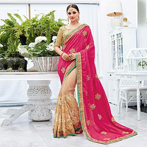 Adorable Pink-Beige Designer Embroidered Silk Saree