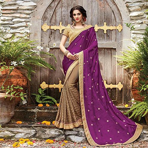 Lovely Purple-Beige Designer Embroidered Partywear Silk & Satin Saree