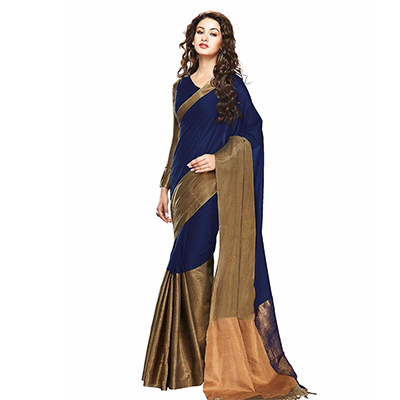Navy Blue - Golden Festive Wear Saree