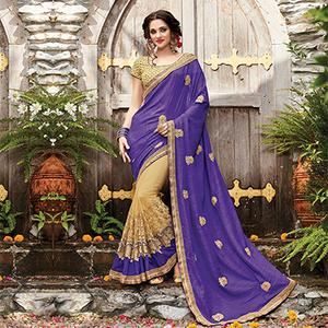 Beautiful Violet-Beige Designer Embroidered Partywear Butterfly Net Saree