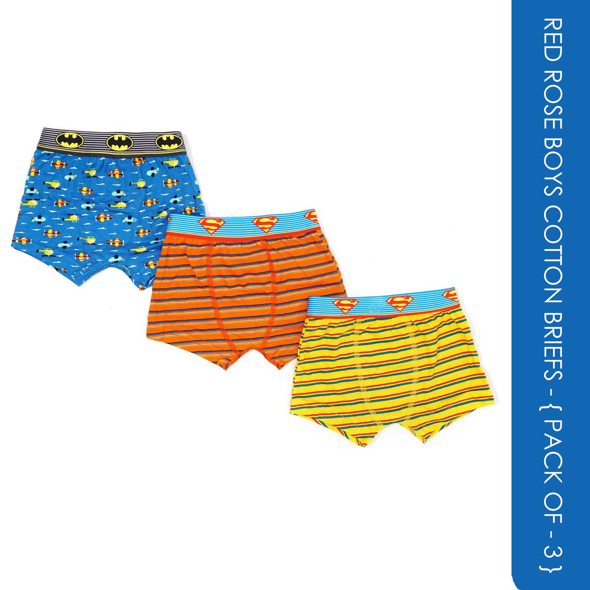 Red Rose - Boys Cotton Justice League Logo Printed Briefs - Pack Of 3