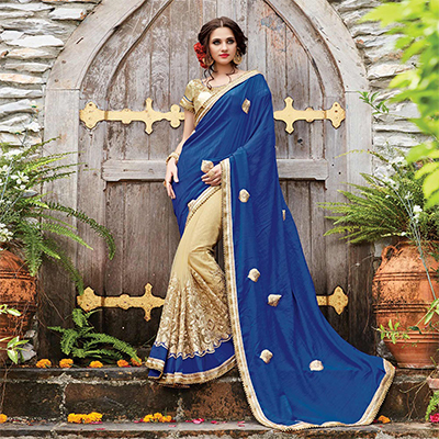Delightful Blue-Beige Designer Embroidered Partywear Butterfly Net & Monga Silk Saree