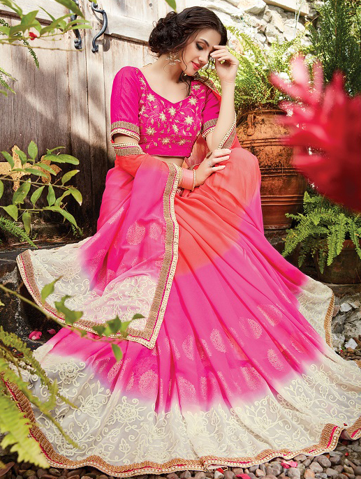 Appealing Pink Designer Embroidered Partywear Saree