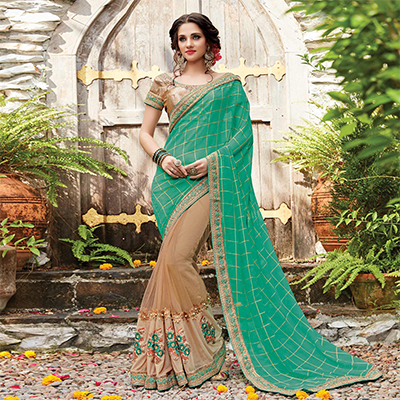 Gorgeous Green-Beige Designer Embroidered Partywear Viscose & Net Saree