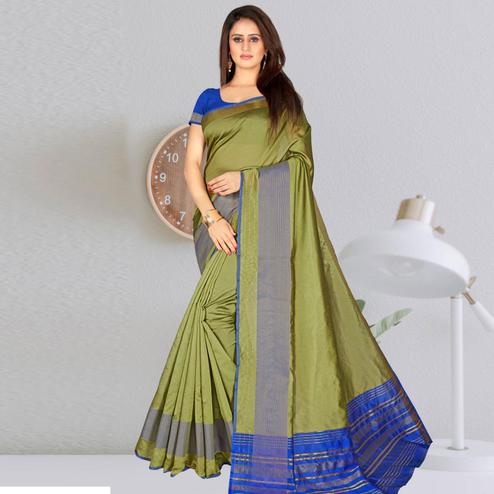Engrossing Olive Green Colored Festive Wear Woven Chanderi Cotton Saree