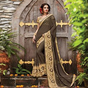 Ravishing Brown Designer Embroidered Partywear Georgette Saree