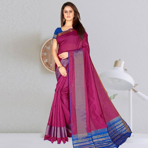 Eye-catching Pink Colored Festive Wear Woven Chanderi Cotton Saree