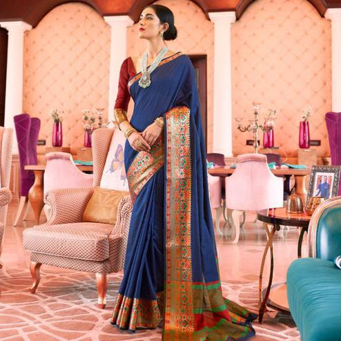 Imposing Blue Colored Festive Wear Woven Handloom Silk Saree
