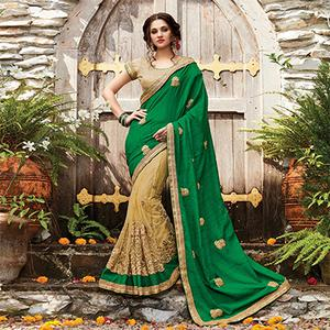 Graceful Green-Beige Designer Embroidered Partywear Butterfly Net Saree