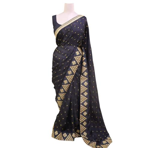 Majesty Black Colored Partywear Embroidered Georgette Saree
