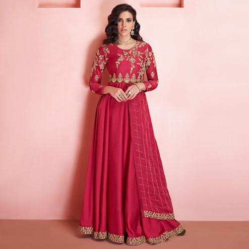Exotic Pink Colored Partywear Embroidered Tapeta Silk Gown